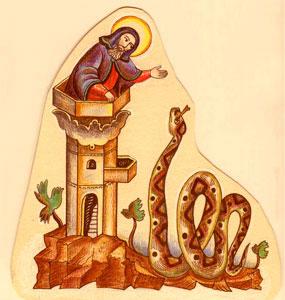 Преподобный Симеон столпник исцеляет змея